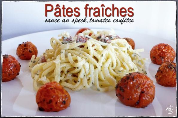 Pâtes fraîches sauce speck tomates confites 1