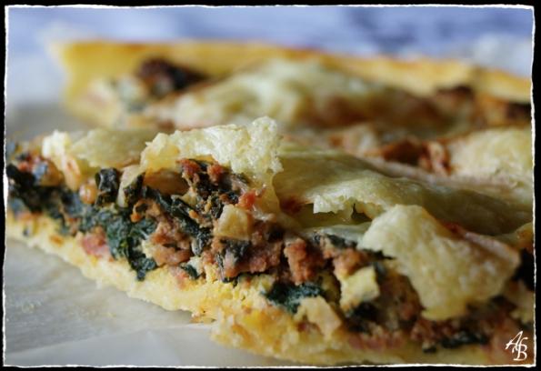 Tarte aux épinards, viande hachée et fromage à raclette 4