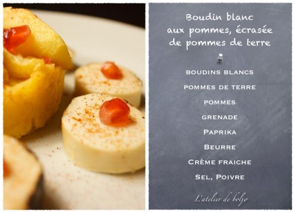 Boudin blanc aux pommes sautées, écrasée de pommes terre et grenade