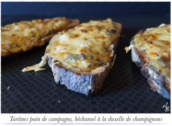 Tartines pain de campagne, béchamel à la duxelle de champignons 1
